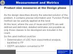 product size measures at the design phase