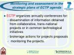 monitoring and assessment in the strategic plans of ectp agenda10