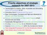 priority objectives of strategic research for 2007 2013