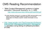 cms reading recommendation