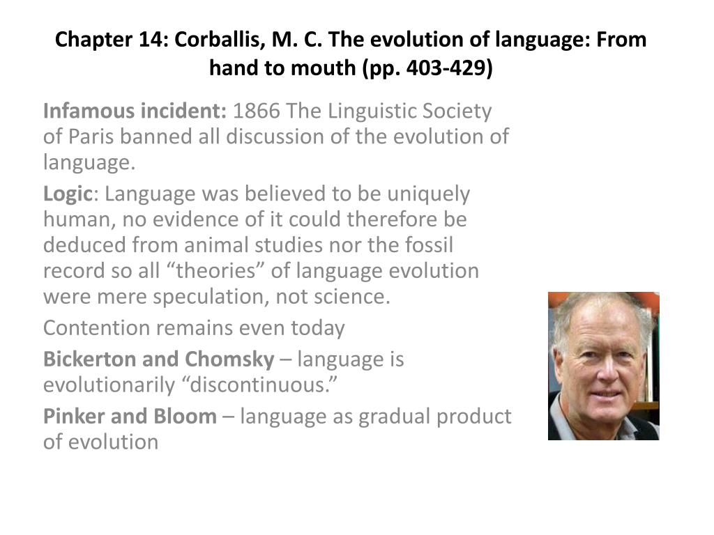 chapter 14 corballis m c the evolution of language from hand to mouth pp 403 429 l.