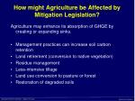 how might agriculture be affected by mitigation legislation23