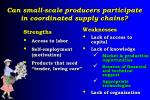 can small scale producers participate in coordinated supply chains