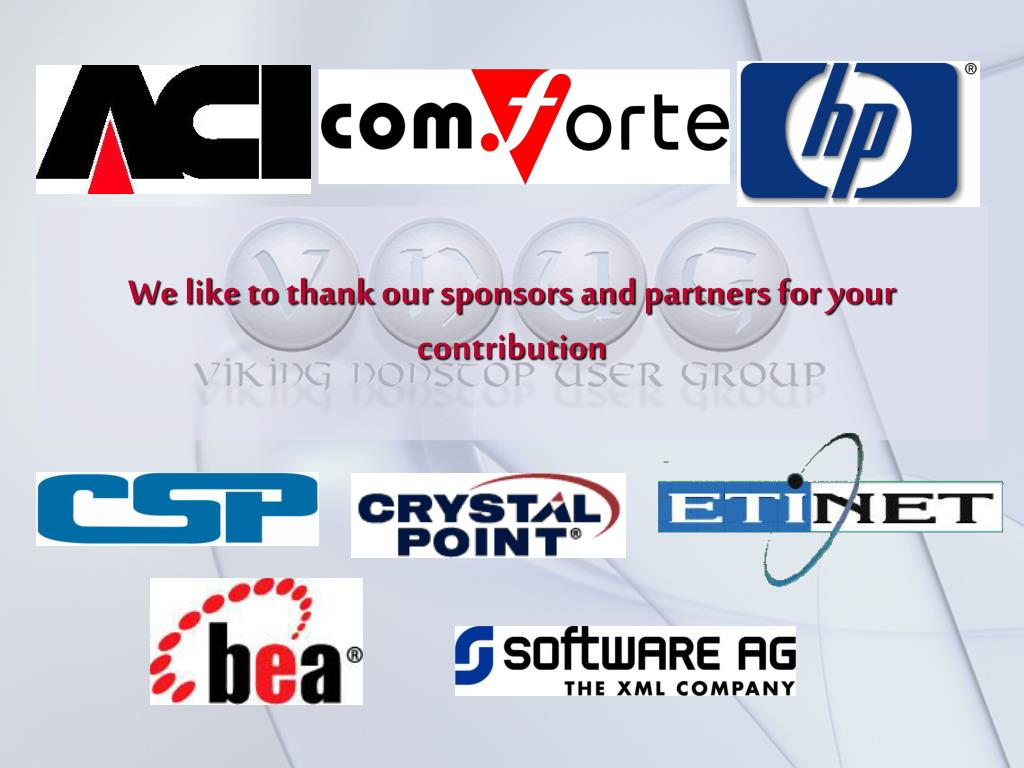 We like to thank our sponsors and partners for your contribution