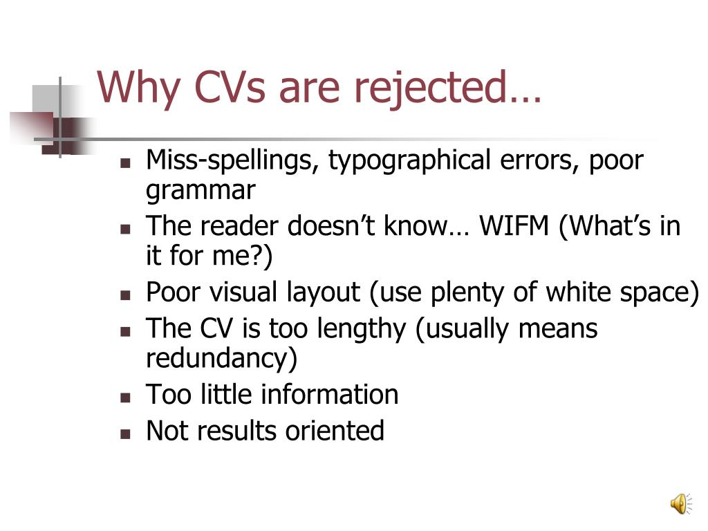 Why CVs are rejected…