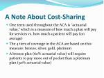 a note about cost sharing