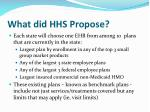 what did hhs propose
