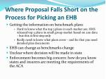where proposal falls short on the process for picking an ehb