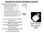 checklist for system shutdown and exit