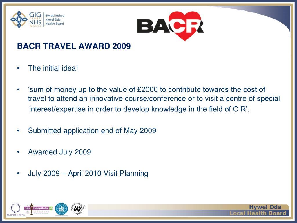 BACR TRAVEL AWARD 2009