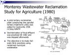 monterey wastewater reclamation study for agriculture 1980