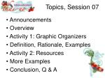 topics session 07