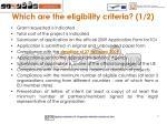 which are the eligibility criteria 1 2
