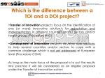 which is the difference between a toi and a doi project