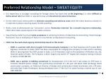 preferred relationship model sweat equity