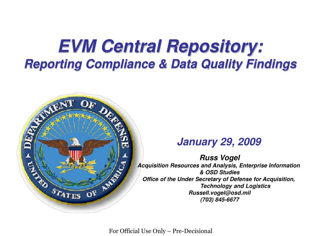 evm central repository reporting compliance data quality findings l.