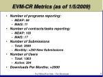 evm cr metrics as of 1 5 2009