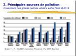 3 principales sources de pollution croissance des grands centres urbains entre 1950 et 2015