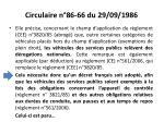 circulaire n 86 66 du 29 09 1986
