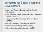 screening for social emotional development