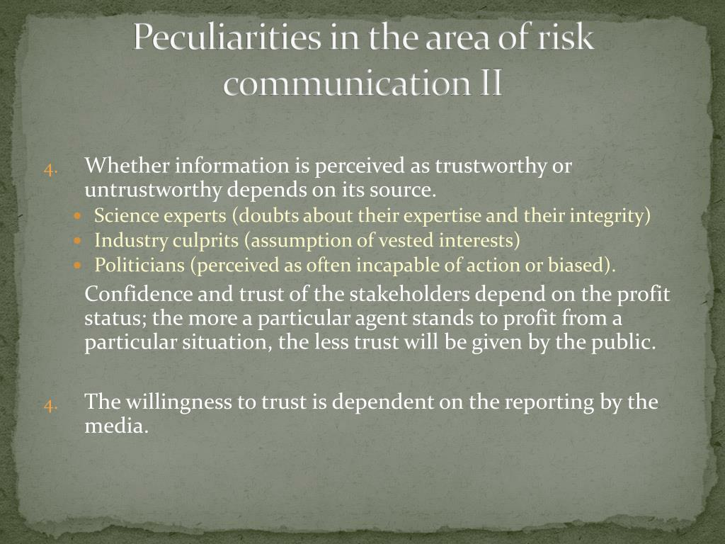 Peculiarities in the area of risk communication II