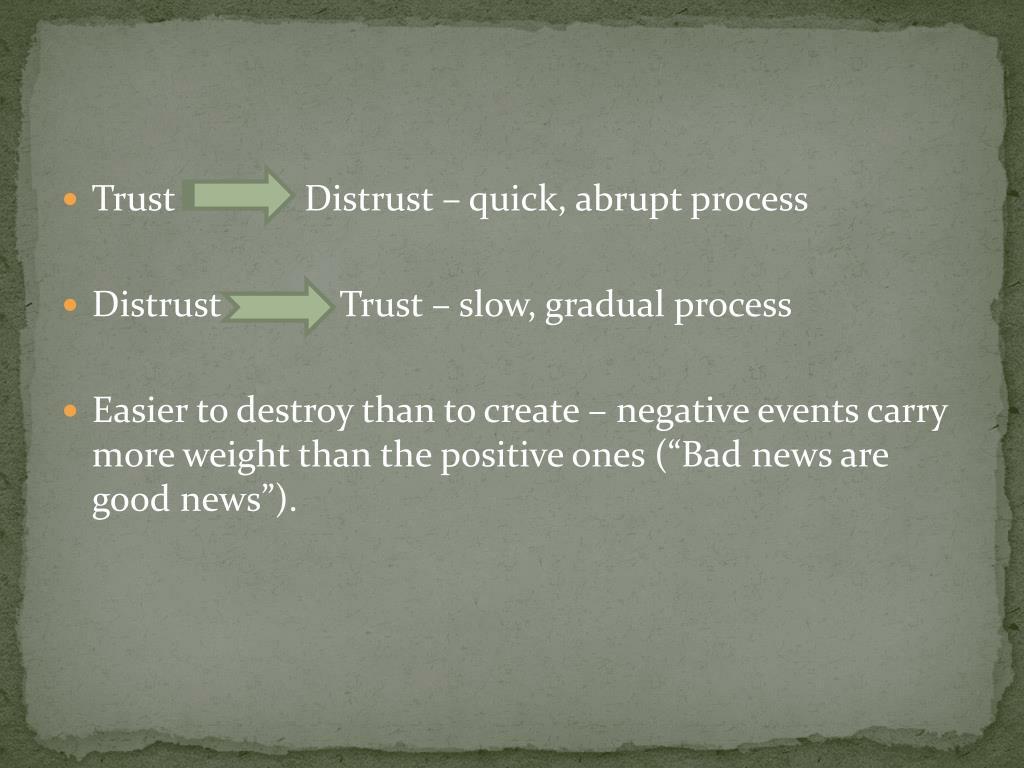 Trust              Distrust – quick, abrupt process