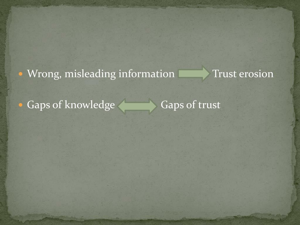 Wrong, misleading information              Trust erosion