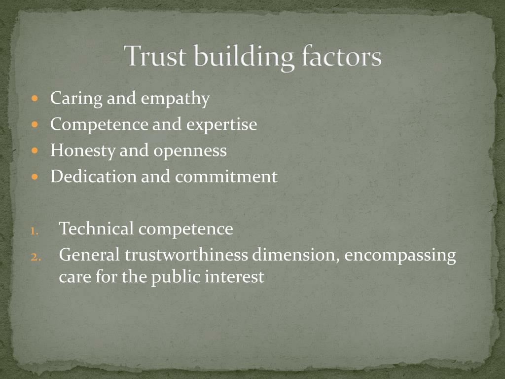 Trust building factors