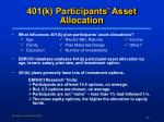 401 k participants asset allocation