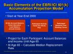basic elements of the ebri ici 401 k accumulation projection model