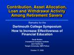 contribution asset allocation loan and withdrawal activity among retirement savers