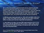 what do vendors need to know