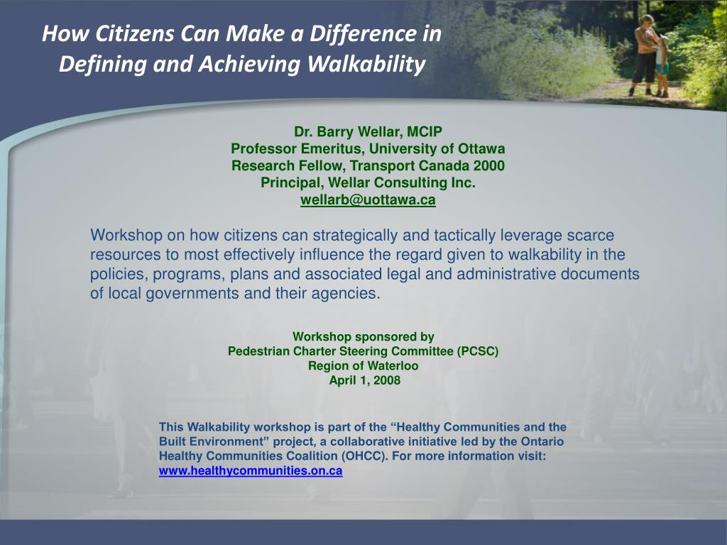 how citizens can make a difference in defining and achieving walkability l.
