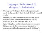 languages of education le langues de scolarisation