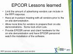 epcor lessons learned