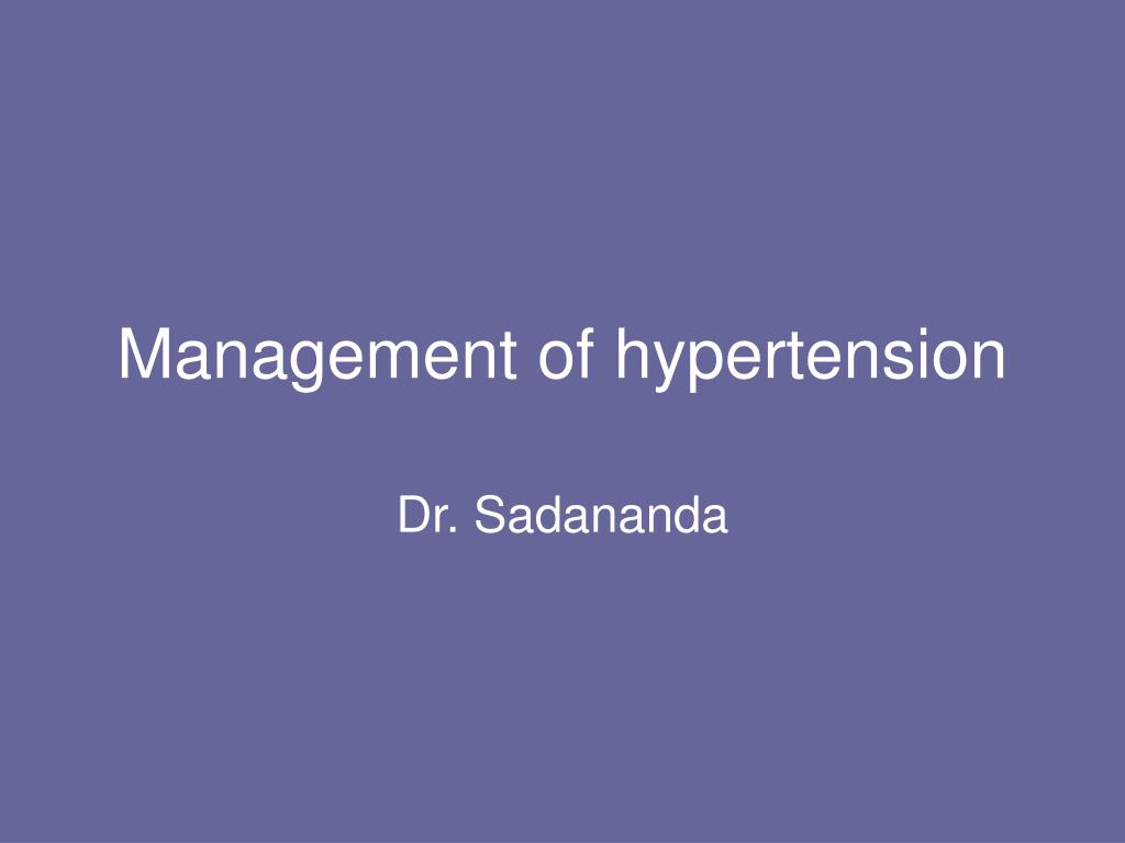 management of hypertension l.