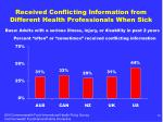 received conflicting information from different health professionals when sick