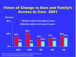 views of change in own and family s access to care 2001