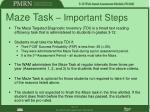maze task important steps