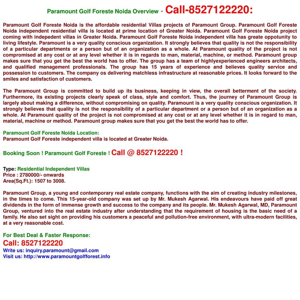 Paramount Golf Foreste Noida Overview