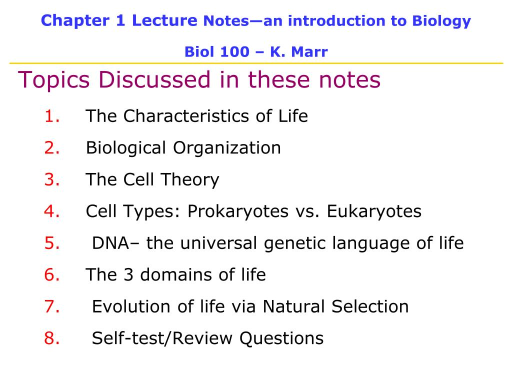 chapter 1 lecture notes an introduction to biology biol 100 k marr l.
