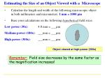 estimating the size of an object viewed with a microscope31