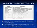 attributes used in mft records