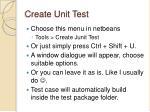 create unit test