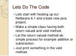 lets do the code