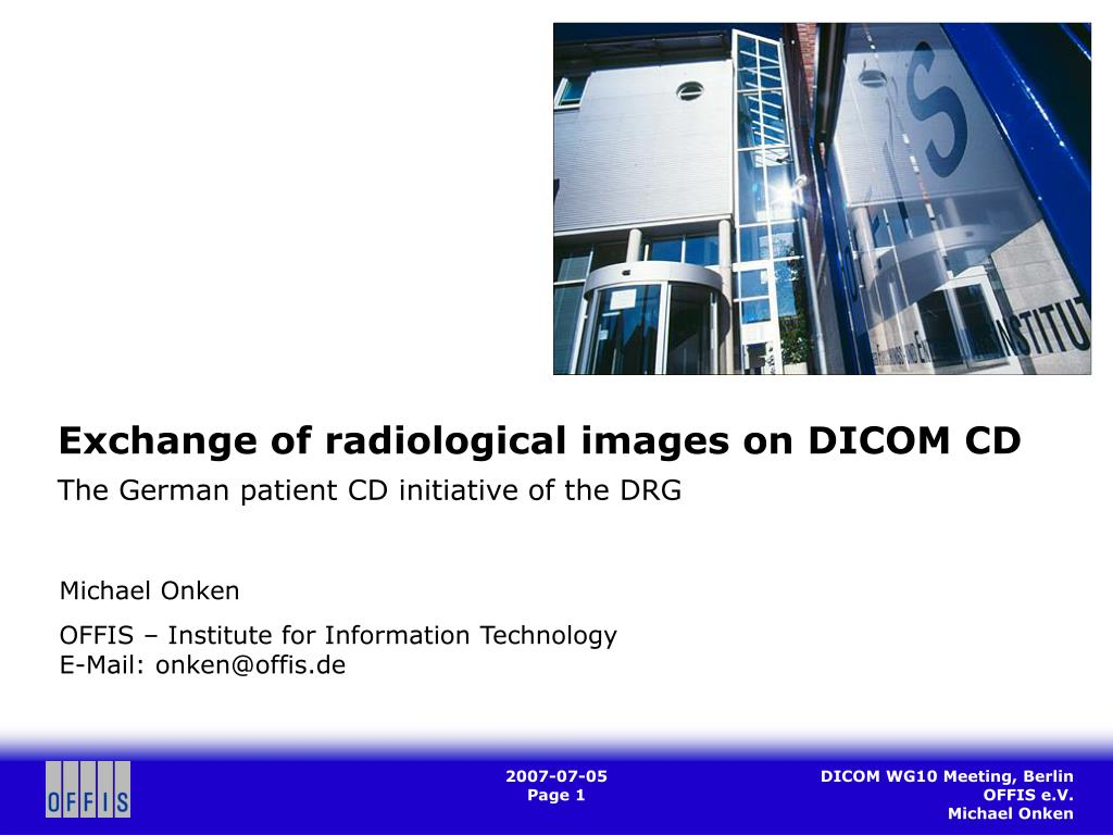 exchange of radiological images on dicom cd the german patient cd initiative of the drg l.
