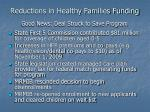 reductions in healthy families funding