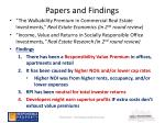 papers and findings