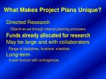 what makes project plans unique