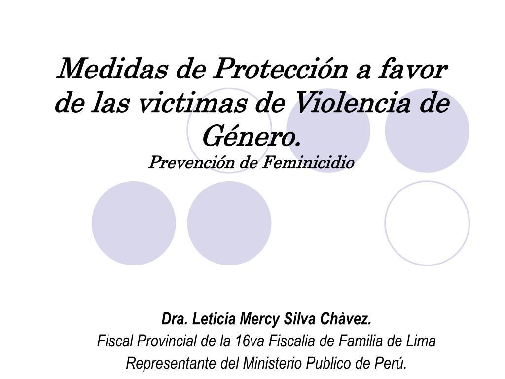 medidas de protecci n a favor de las victimas de violencia de g nero prevenci n de feminicidio l.